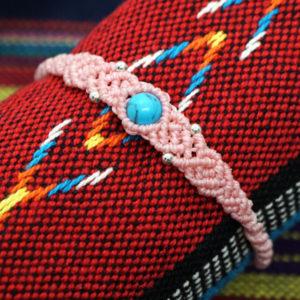ターコイズ マクラメ編み ブレスレット